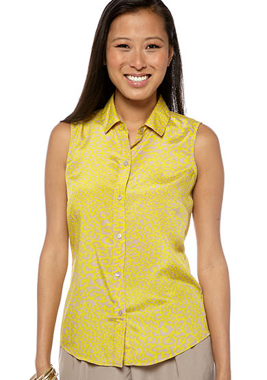 Jessica Simpson Oxford Print Sleeveless Blouse