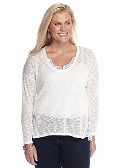 Jessica Simpson Plus Size Lace Trim Hatchi Top