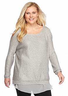 Jessica Simpson Plus Size Tearose Cold Shoulder Sweater