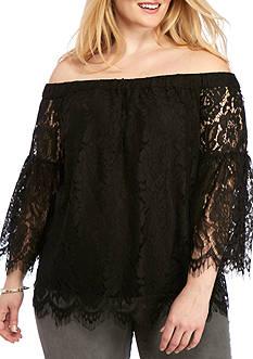 Jessica Simpson Plus Size Delani Off The Shoulder Lace Top