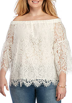 Jessica Simpson Plus Size Delani Off The Shoulder Lace Top