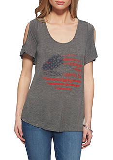 Jessica Simpson Ummi American Lips Graphic Cold Shoulder Tee