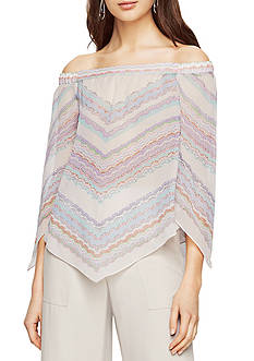 BCBGMAXAZRIA Octavia Woven Off Shoulder Stripe Top