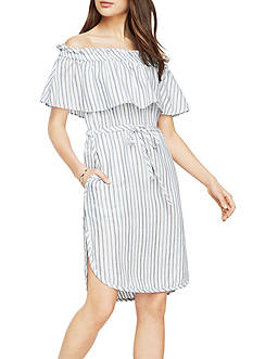 BCBGMAXAZRIA Alexis Stripe Off Shoulder Dress