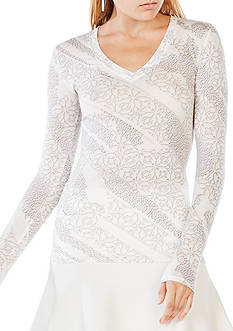 BCBGMAXAZRIA Jan Mosaic Print Top