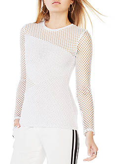 BCBGMAXAZRIA Long Sleeve Perf Top