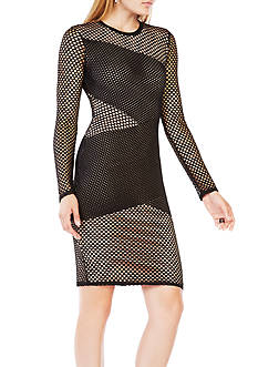 BCBGMAXAZRIA Long Sleeve Fishnet Dress