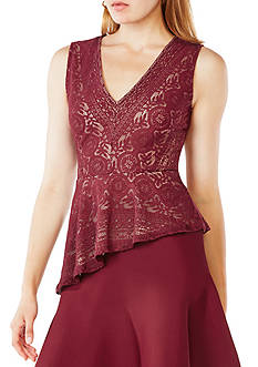 BCBGMAXAZRIA Avalon Lace Peplum Top