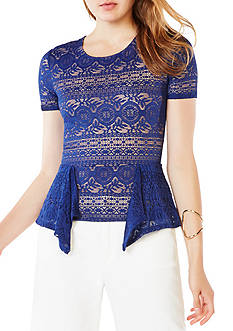 BCBGMAXAZRIA Stretch Lace Peplum Top
