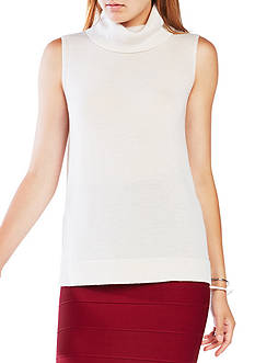 BCBGMAXAZRIA Sleeveless Turtle Neck Top