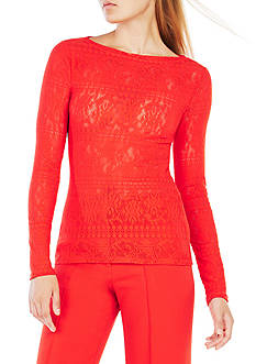 BCBGMAXAZRIA Sheer Stretch Lace Top