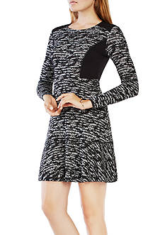 BCBGMAXAZRIA Printed Crew Neck Dress