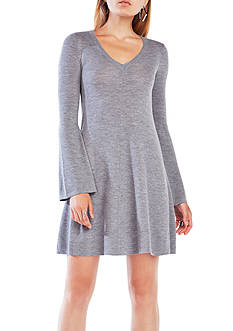 BCBGMAXAZRIA Long Sleeve Pleated Knit Dress