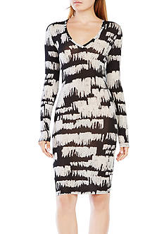 BCBGMAXAZRIA Printed V-Neck Dress