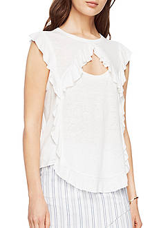 BCBGMAXAZRIA Keyla Knit Ruffle Sleeveless Top