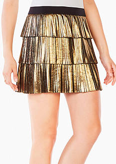 BCBGMAXAZRIA Zana Pleated Metallic Skirt
