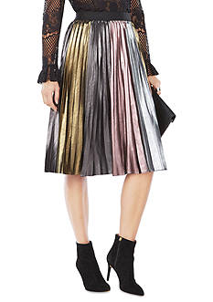 BCBGMAXAZRIA Marie Pleated Metallic Skirt
