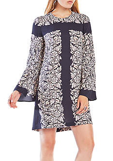 BCBGMAXAZRIA Long Floral Bell Sleeve Dress