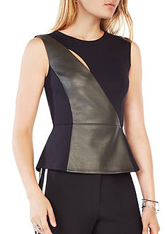 BCBGMAXAZRIA Pieced Sleeveless Peplum Top