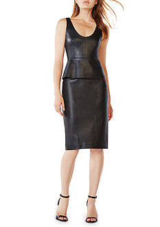 BCBGMAXAZRIA Faux Leather Peplum Top