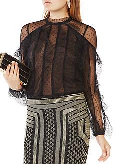BCBGMAXAZRIA Leora Ruffled Lace Top