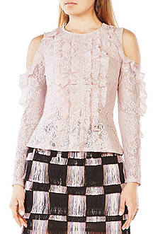 BCBGMAXAZRIA Maddy Cold-Shoulder Lace Top