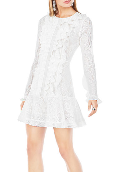 BCBGMAXAZRIA Guinevere Ruffled Lace Dress