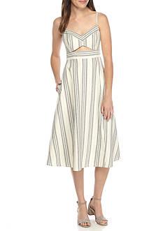 BCBGMAXAZRIA Karoline Woven Stripe Cutout Dress