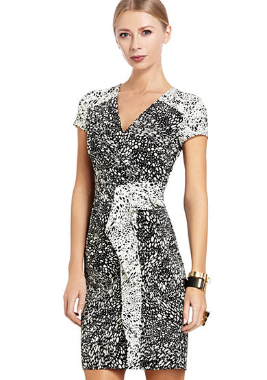 Printed Peplum Jersey Dress