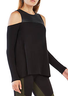 BCBGMAXAZRIA Long Sleeve Cold Shoulder Top