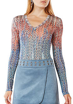 BCBGMAXAZRIA Long Sleeve Printed Top
