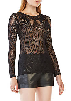 BCBGMAXAZRIA Sheer Printed Top