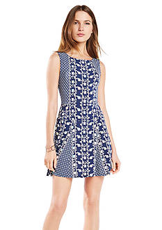 BCBGMAXAZRIA Cory Printed Fit and Flare Dress