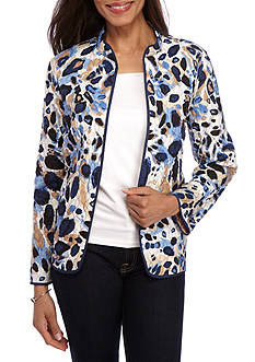 Alfred Dunner Classic Animal Print Quilted Jacket