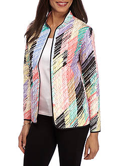 Alfred Dunner Classic Brushstroke Print Quilted Jacket