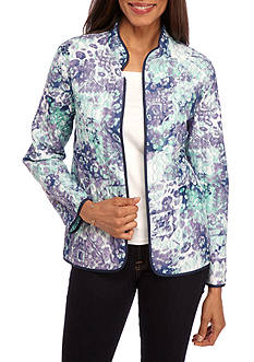 Alfred Dunner Classic Watercolor Print Quilted Jacket