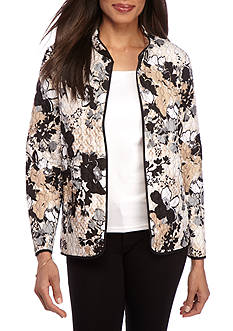 Alfred Dunner Classic Floral Print Quilted Jacket