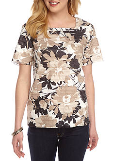 Alfred Dunner Classic Neutral Floral Eyelash Top