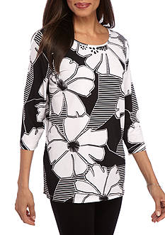 Alfred Dunner Classic Exploded Floral Tunic