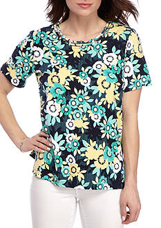 Alfred Dunner Classic Daisy Print Tee