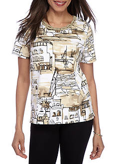 Alfred Dunner Classic Scenic Neutral Tee