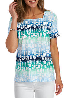 Alfred Dunner Classics Biadere Print Tee
