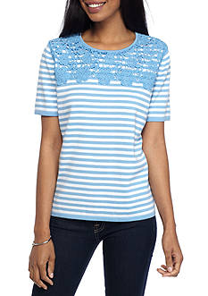 Alfred Dunner Classic Stripe Lace Yoke Sweater