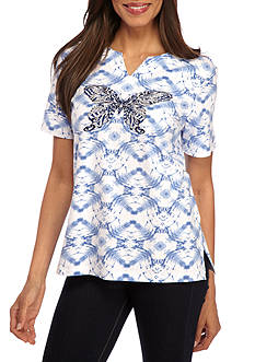 Alfred Dunner Classic Butterfly Print Tee