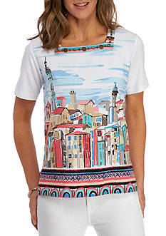 Alfred Dunner Classics Scenic Border Print Top