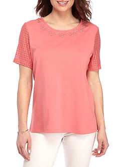 Alfred Dunner Classic Lace Sleeve Tee