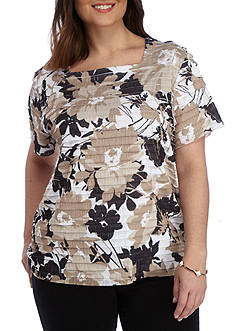 Alfred Dunner Plus Classic Eyelash Floral Tee