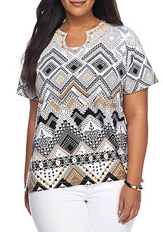 Alfred Dunner Plus Classics Tribal Tee