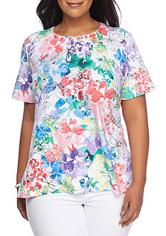 Alfred Dunner Plus Classics Floral Tee