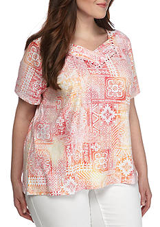 Alfred Dunner Plus Classic Patchwork Tee